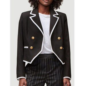 NWT FRAME Contrast Trim Double Breasted Blazer